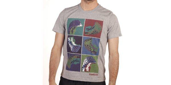 Pánské šedé tričko s barevným potiskem Reebok