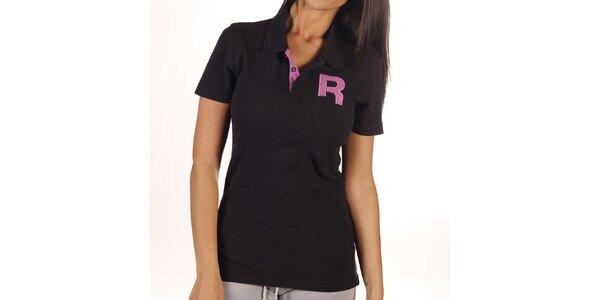 Dámské černé polo tričko s písmenem Reebok