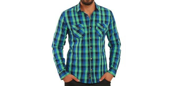 Pánská modro-zeleně kostkovaná košile Premium Company
