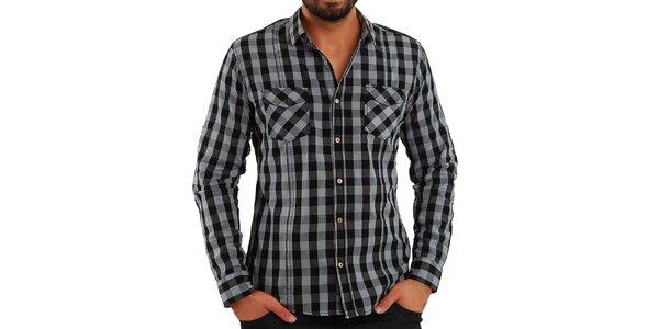 Pánská šedě kostkovaná košile Premium Company