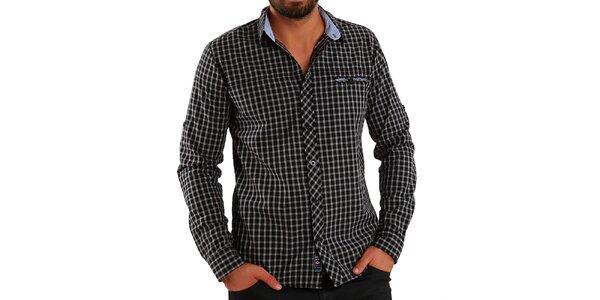 Pánská košile s šedo-černými kostičkami Premium Company