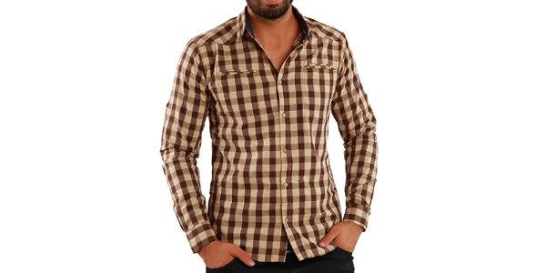 Pánská hnědě kostkovaná košile Premium Company