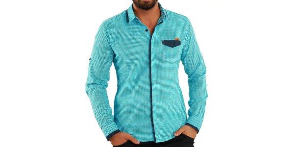 Pánská tyrkysová košile s kostičkami Premium Company