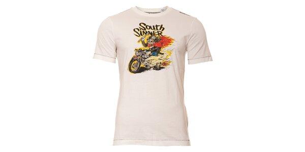 Pánské triko Energie v bílé barvě s výrazným potiskem