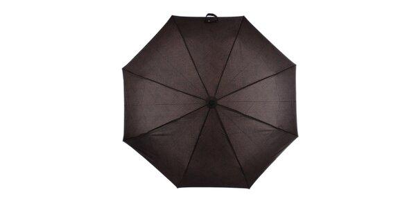 Pánský vystřelovací skládací deštník s nápisy v hnědé barvě Ferré Milano
