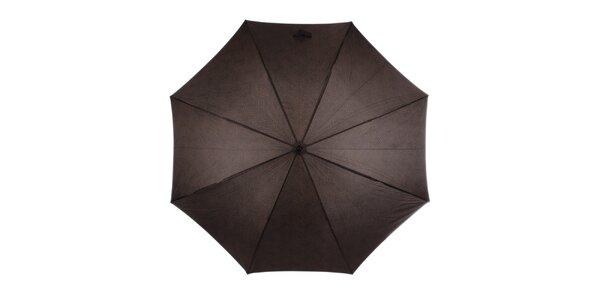 Pánský hnědý vystřelovací deštník s nápisy Ferré Milano