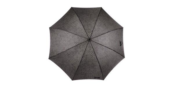 Pánský šedo-hnědý vystřelovací deštník se vzorem Ferré Milano
