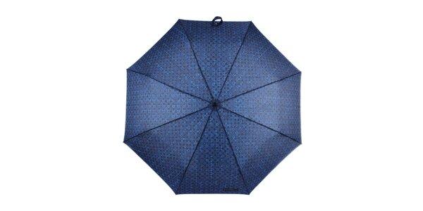 Pánský vystřelovací skládací deštník se vzorem v modré barvě Ferré Milano