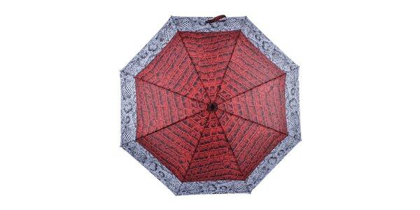 Dámský skládací vystřelovací deštník s krokodýlím vzorem Ferré Milano