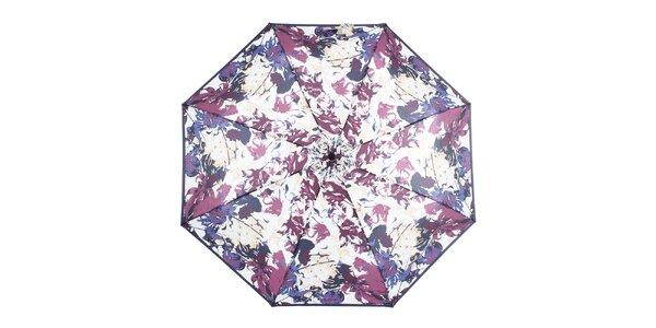 Dámský skládací modro-fialový deštník s květinami Ferré Milano