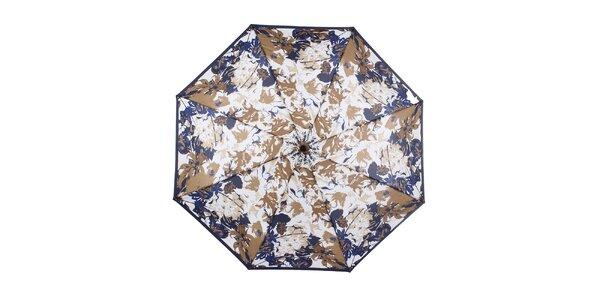Dámský skládací modro-hnědý deštník s květinami Ferré Milano
