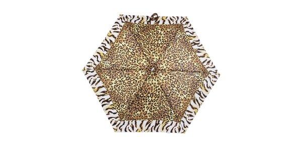 Dámský malý skládací deštník se zvířecím vzorem Ferré Milano