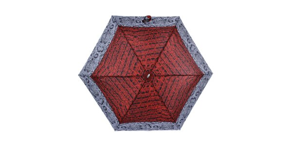 Dámský malý skládací deštník s červeným krokodýlím vzorem Ferré Milano