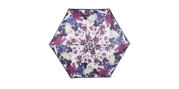 Dámský malý skládací deštník s modro-fialovým květinovým vzorem Ferré Milano
