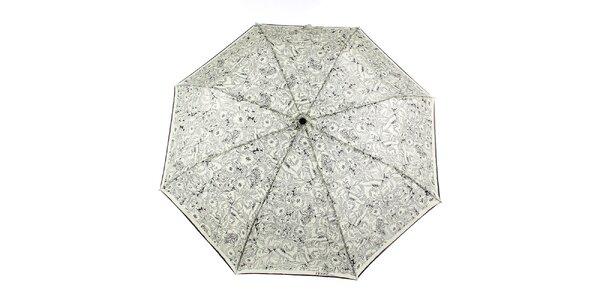 Dámský krémový vystřelovací deštník s černými květy Ferré Milano