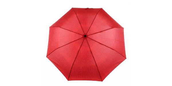 Dámský červený vystřelovací deštník s krokodýlím vzorem Ferré Milano