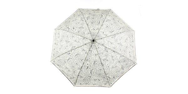 Dámský krémovo-černý deštník s květinovým potiskem Ferré Milano