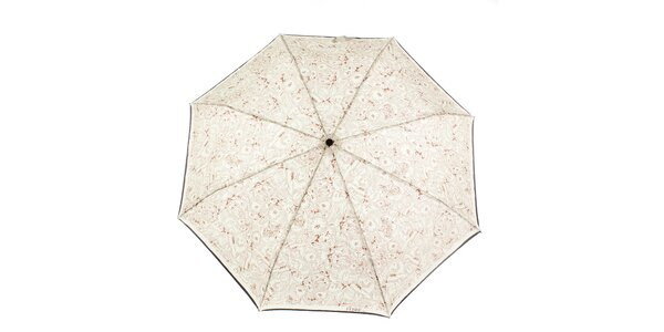 Dámský krémovo-hnědý deštník s květinovým potiskem Ferré Milano