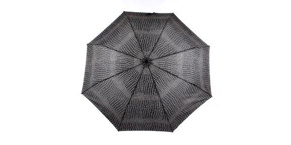 Dámský šedo-černý deštník s krokodýlím vzorem Ferré Milano