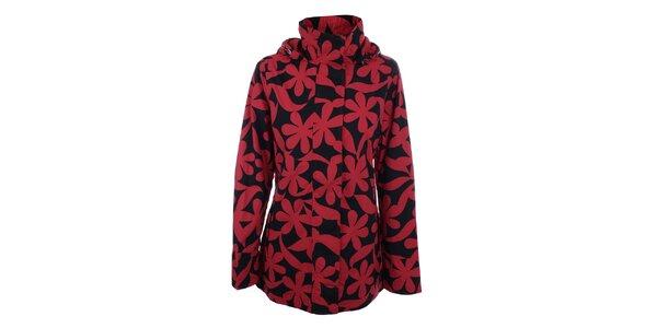 Dámská červeno-černá bunda s květy do deště Happy Rainy Days