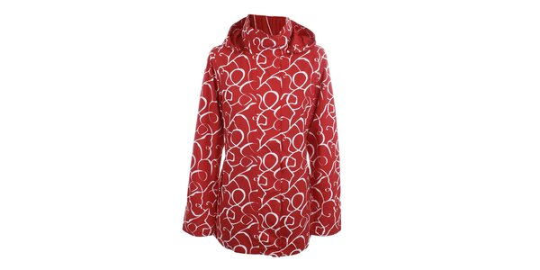 Dámská červeno-bílá vzorovaná bunda do deště Happy Rainy Days