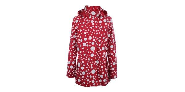 Dámská červeno-bílá bunda do deště Happy Rainy Days