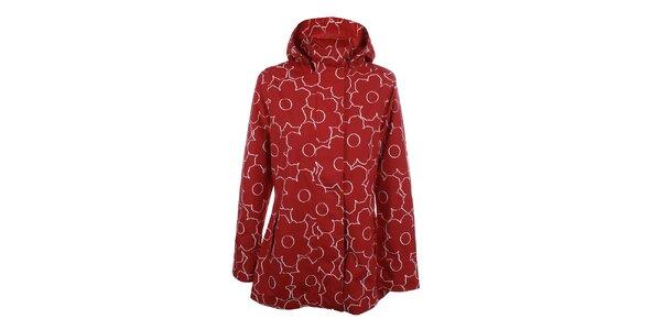 Dámská červeno-bílá květinová bunda do deště Happy Rainy Days