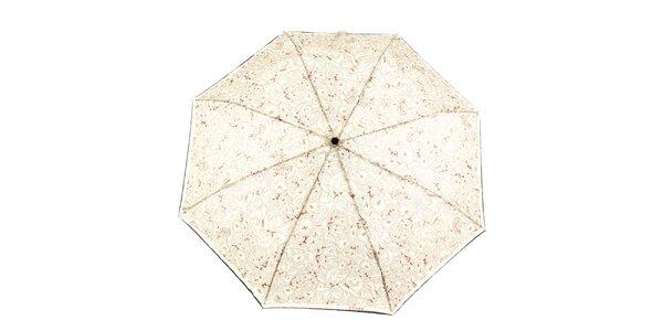 Dámský krémový vystřelovací deštník s hnědými květy Ferré Milano
