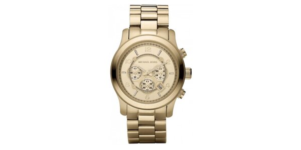 Dámské analogové hodinky s chronografem ve zlaté barvě Michael Kors