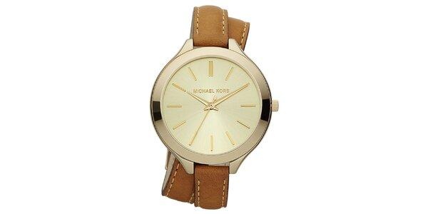 Dámské analogové hodinky s překříženým hnědým páskem Michael Kors