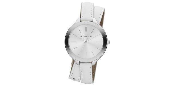 Dámské analogové hodinky s překříženým bílým páskem Michael Kors