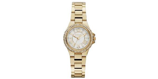Dámské zlacené hodinky se zirkony Michael Kors