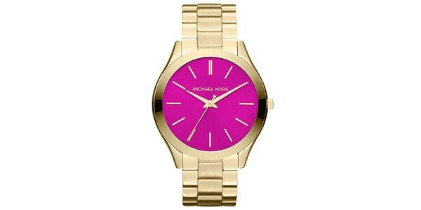 Dámské pozlacené hodinky s fuchsiovým ciferníkem Michael Kors