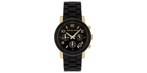 Dámské černé hodinky se zlatými prvky Michale Kors