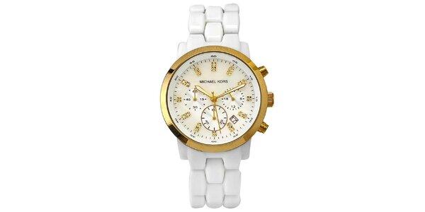 Dámské bílé hodinky se zlatými prvky Michael Kors