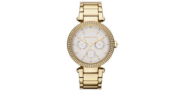 Dámské pozlacené hodinky s bílými zirkony Michael Kors