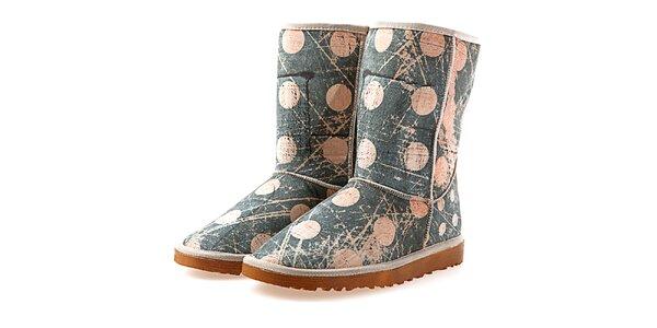 Dámské modro-béžové boty s puntíky Elite Goby