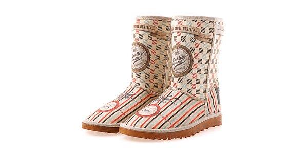 Dámské krémové boty Elite Goby s retro vzorkem