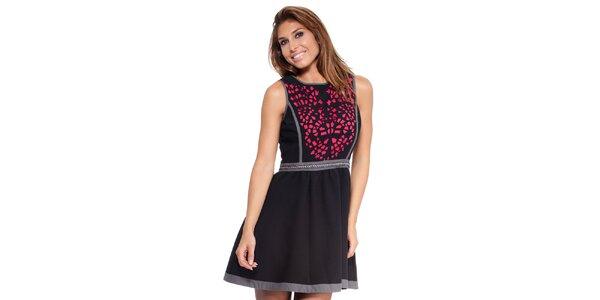 Dámské černé šaty s barevným vzorem Janis