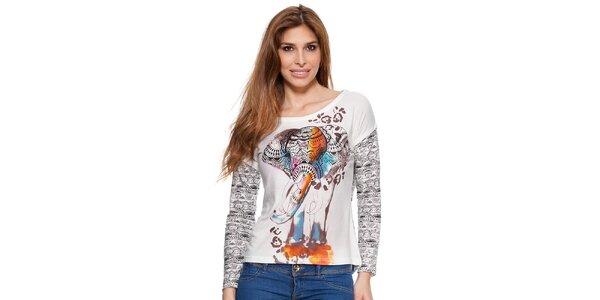 Dámské bílé vzorované tričko s dlouhým rukávem Janis
