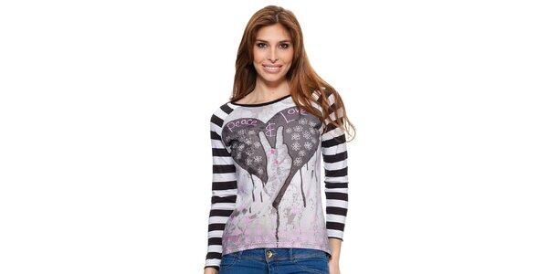 Dámské tričko s dlouhým pruhovaným rukávem Janis