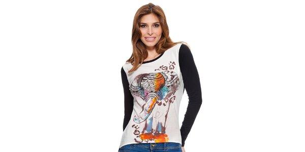 Dámské černo-bílé tričko s dlouhým rukávem Janis