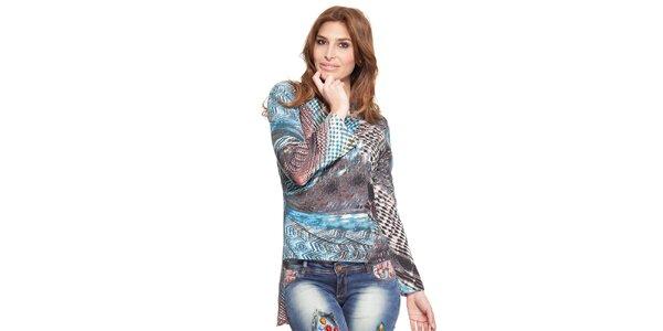 Dámské vzorované asymetrické tričko Janis