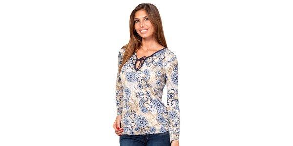 Dámské elegantní tričko s modrým květinovým vzorem Janis
