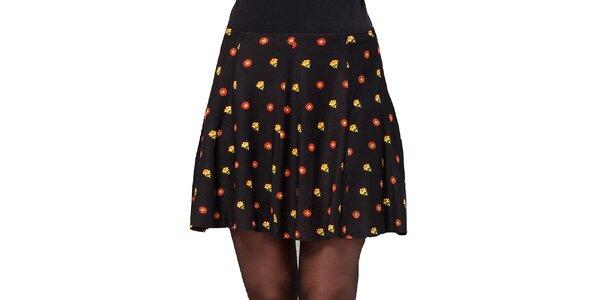 Dámská černá sukně s barevnými kvítky Janis