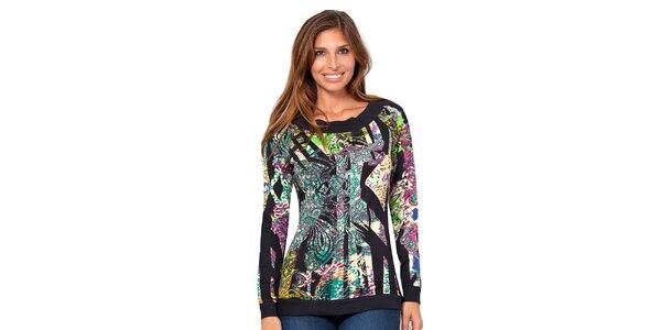Dámské tričko s barevným potiskem a dlouhým rukávem Janis
