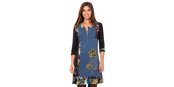 Dámské modré šaty s barevnými výšivkami Janis
