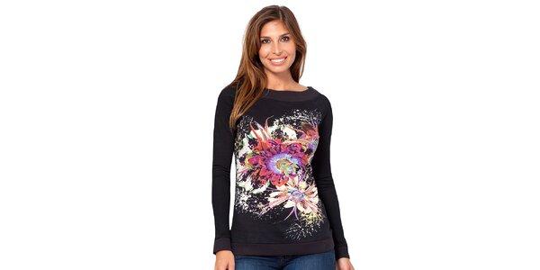 Dámské černé tričko s květinou Janis