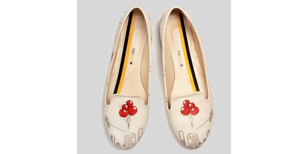 Dámské smetanové loafers s balonky The Bees