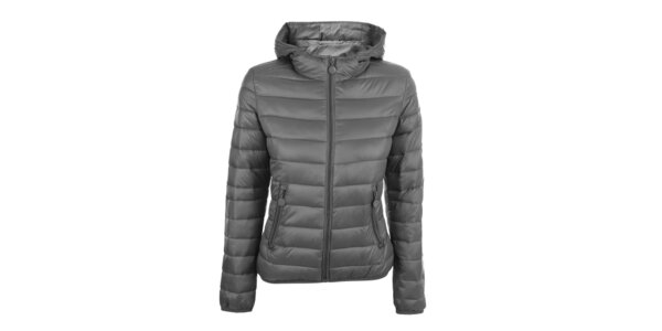 Dámská šedá prošívaná bunda s kapucí DJ85°C